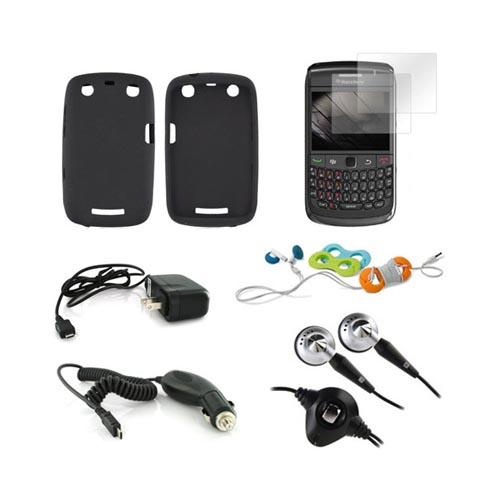 Blackberry Curve 9360 Essential Bundle Package w/ Black Silicone Case, 2 Pack Screen Protector, Blackberry Headset (3.5mm), Belkin Cable Organizer, Car & Travel Charger