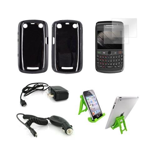 Blackberry Curve 9360 Essential Bundle Package w/ Black Crystal Silicone Case, 2 Pack Screen Protector, Green Lime 3Feet Stand, Car & Travel Charger