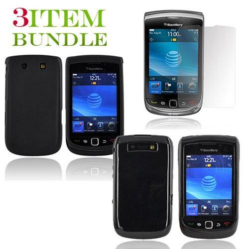 Blackberry Torch Bundle Package - Black Hard Case, Silicone Case & Screen Protector - (Essential Combo)