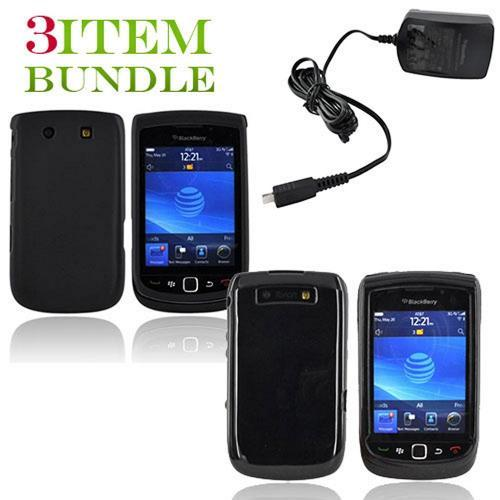 Blackberry Torch Bundle Package - Black Hard Case, Silicone Case & Blackberry Travel Charger - (Essential Combo)