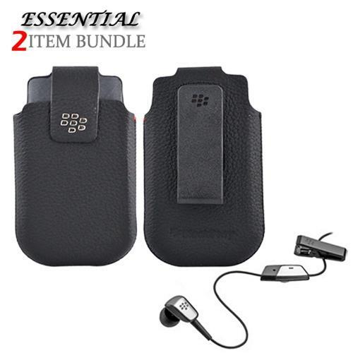 Blackberry Torch 9800 Bundle Package - Leather Pouch & 3.5mm Mono Headset Combo - (Essential Combo)