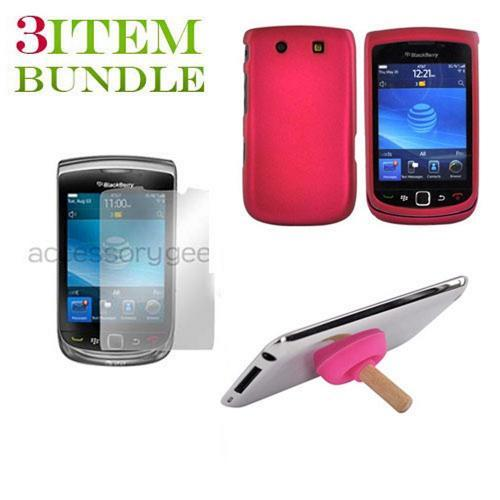 Blackberry Torch Bundle Package - Rubberized Rose Pink Hard Case, Pink Suction Plunger Stand & Mirror Screen Protector - (Geeky in pink Combo)