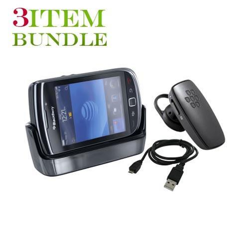 Blackberry Torch Bundle Package - Desktop Charge & Sync Cradle, Micro USB Charge n' Sync Data Cable & Blackberry HS-300 Bluetooth Headset - (Workaholic Combo)