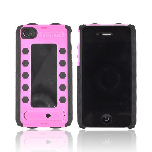 Original BodyDock Bronze Edition AT&T/ Verizon Apple iPhone 4, iPhone 4S Magnetic Docking System Hard Case w/ Screen Protective Appliqué, Kickstand, & Positionable Magnet - Pink/ Black