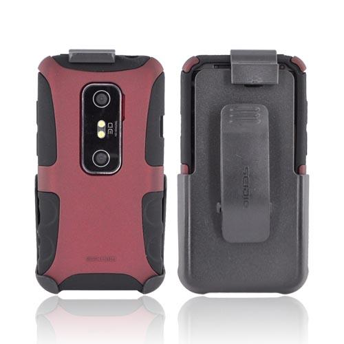 Original Seidio HTC EVO 3D Active Combo Rubberized Hard Case on Silicone & Holster w/ Belt Clip, BD2-HK3HEV3D-RD - Maroon/ Black