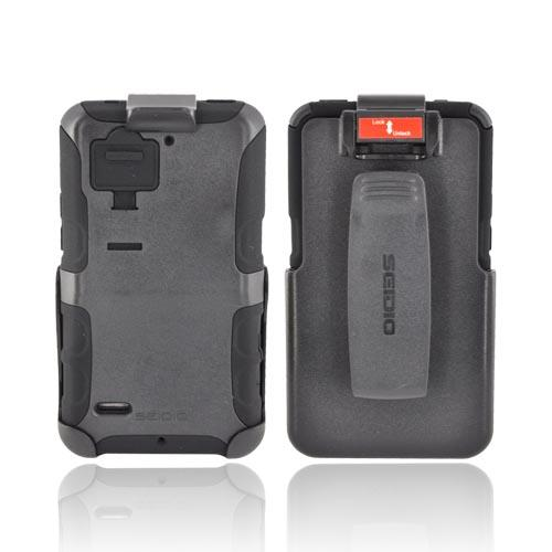 Original Seidio Motorola Droid Bionic XT875 Convert Combo Hard Case on Silicone w/ Holster & Screen Protector, BD4-HKR4MTBNC - Black
