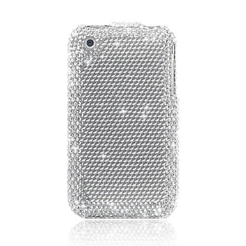 Super Premium Apple iPhone 3G 3GS Bling Hard Case - Silver