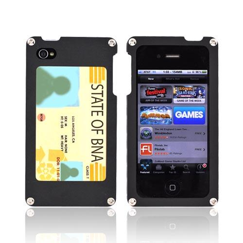 Solid Metal (Aluminum) case for AT&T/Verizon Apple iPhone 4, iPhone 4S w/ Wood Back & Screen Protector by BNA - Exclusively from Accessorygeeks! BNA-007 - Black