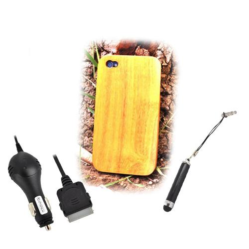Exclusive TPhone Eco-Design Apple Verizon/ AT&T iPhone 4, iPhone 4S Jack Fruit Wood Back Cover Case Bundle w/ Screen Protector, Extendable Stylus & Car Charger