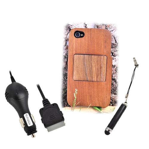 Exclusive TPhone Eco-Design Apple Verizon/ AT&T iPhone 4, iPhone 4S Brown Teak Wood Hard Stand Case Bundle w/ Screen Protector, Extendable Stylus & Car Charger