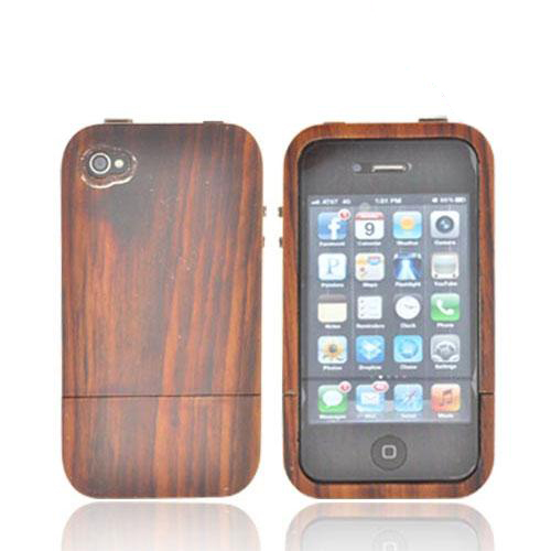 """Exclusive"" Tphone Eco-Design AT&T/ Verizon Apple iPhone 4, iPhone 4S Hand-Finished Wood Hard Sliding Cover Case w/ Screen Protector - Natural Sonokeling Wood"
