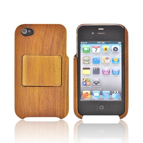 """Exclusive"" Tphone Eco-Design AT&T/ Verizon Apple iPhone 4, iPhone 4S Hand-Finished Wood Hard Case Stand w/ Screen Protector - Brown Teak Wood"