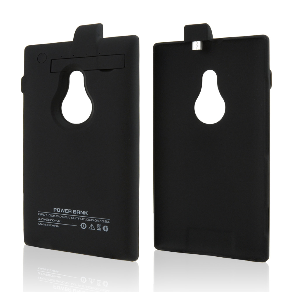 Black Rubberized Hard Charging Case w/ Kickstand for Nokia Lumia 925 - 2800 mAh