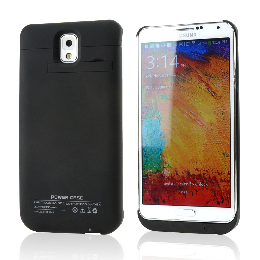 Black Rubberized Hard Charging Case w/ Kickstand & Micro USB Charging Cable for Samsung Galaxy Note 3 - 3800 mAh