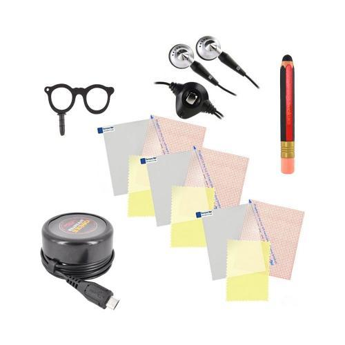 Back To School Essential Bundle w/ 3 Pack Screen Protectors, Pencil Style Stylus, Geek Glasses Stopple, Geeks Approved Micro USB/ iPod & iPhone Wall Charger, & 3.5mm Headset