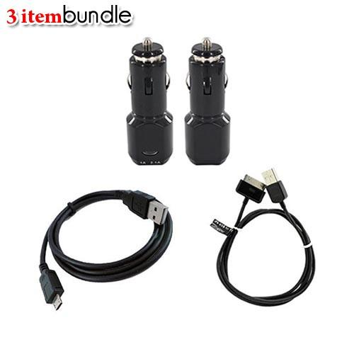 Universal Charging Basic Bundle Package w/ Black Dual USB Car Charger Adapter, Micro USB & iPhone (not Lightning) Charge/ Sync Data Cables