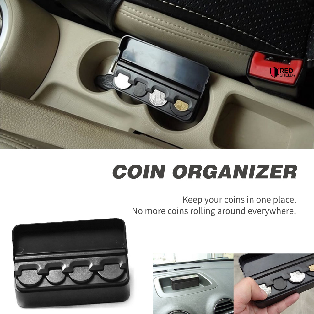 redshield black car interior plastic coin case storage box holder container ebay. Black Bedroom Furniture Sets. Home Design Ideas