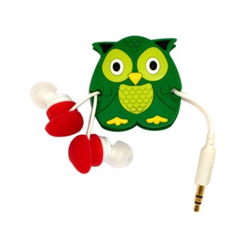 Universal Headset Cord Wrapper - Green Owl