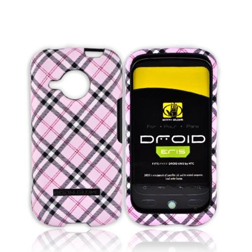Original Body Glove HTC Droid Eris S6200 Posh Snap-On Hard Case, CRC91416 - Pink, Grey, White Plaid Design