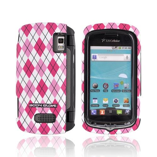 Original Body Glove LG Genesis VS760 Posh Snap-On Hard Case, CRC92294 - Hot Pink/ Baby Pink/ White Argyle