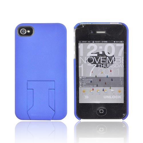 Original Body Glove AT&T/ Verizon Apple iPhone 4, iPhone 4S Slim Protective Rubberized Hard Case w/ Built-In Kickstand & Screen Protector, CRC92531 - Blue