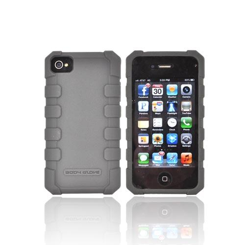 Original Body Glove AT&T/ Verizon Apple iPhone 4, iPhone 4S Drop Suit Crystal Silicone Case w/ Textured Lines, CRC92635 - Gray