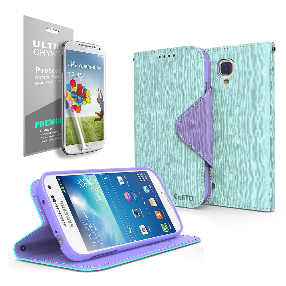 Faux Leather Diary Flip Stand Case w/ ID Slots, Bill Fold & Magnetic Closure for Samsung Galaxy S4 Mini Case Mint/ Purple