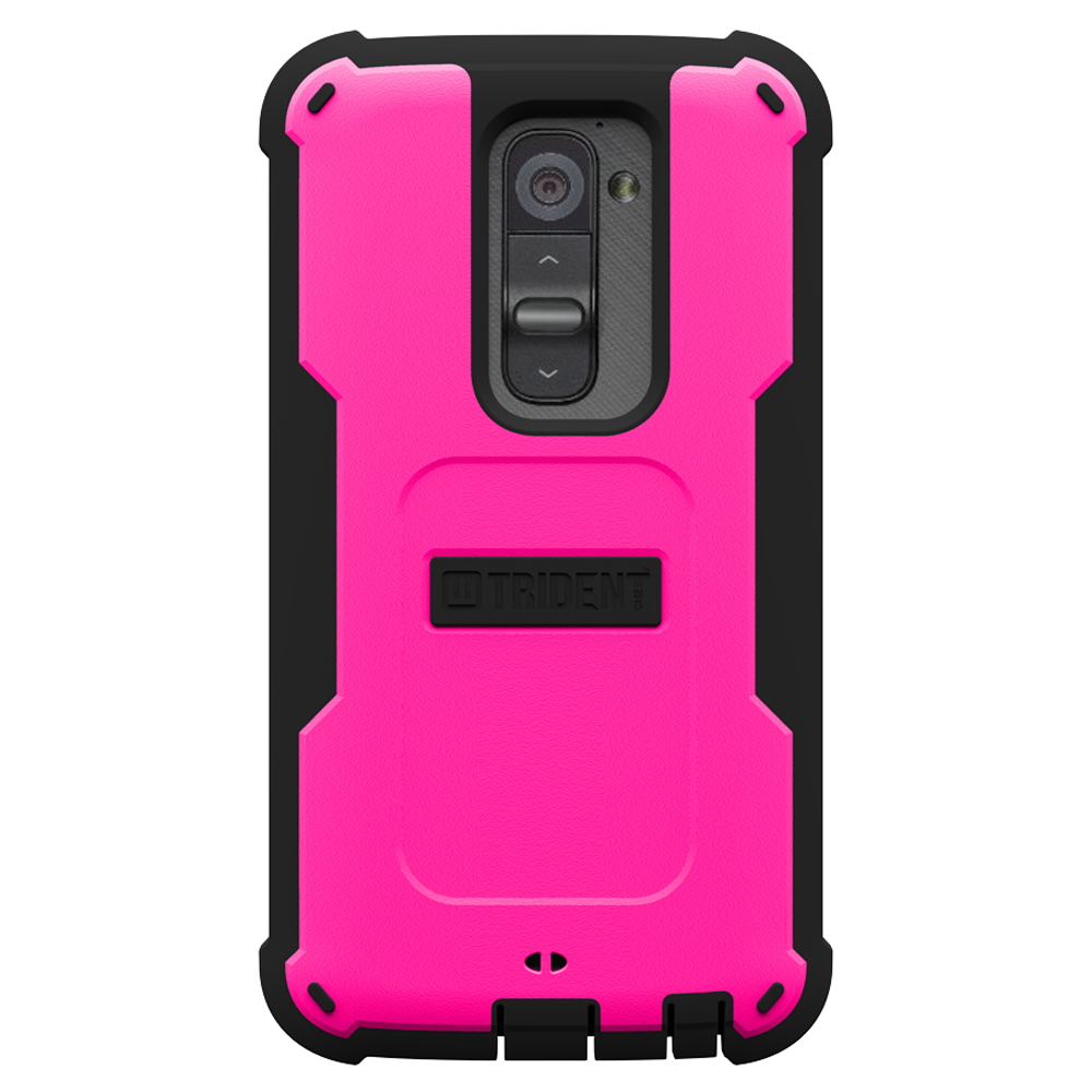 Trident Hot Pink/ Black Cyclops Series Thermo Poly Elastomer (Super TOUGH) Hard Case w/ Built-In Screen Protector for LG G2 (ALL Carriers!) - CY-LG-G2-PNK