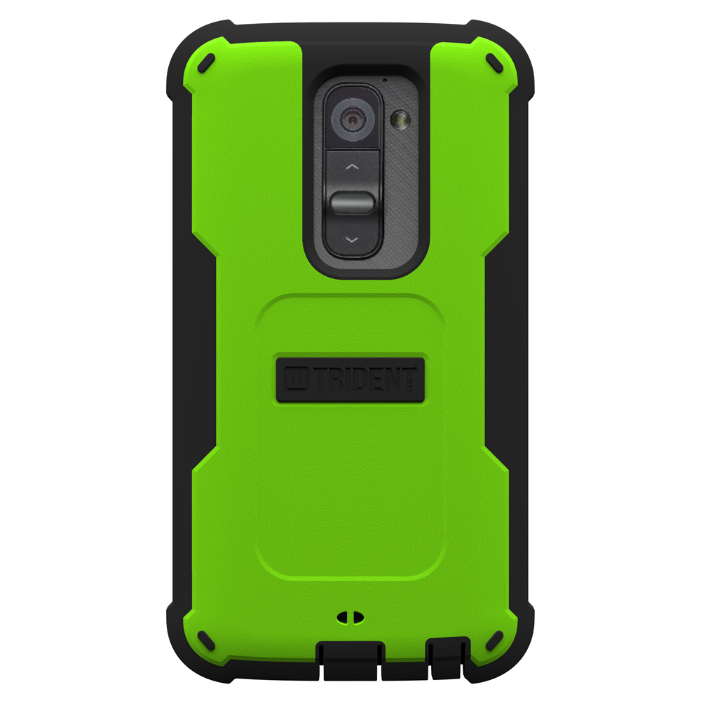 Trident Lime Green/ Black Cyclops Series Thermo Poly Elastomer (Super TOUGH) Hard Case w/ Built-In Screen Protector for LG G2 (All Carriers) - CY-LG-G2-TG