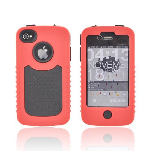 Original Trident Cyclops II AT&T/ Verizon Apple iPhone 4, iPhone 4S Rubberized Hard Case on Silicone w/ Built-in Screen Protector, CY2-IPH4-RD - Red/ Black