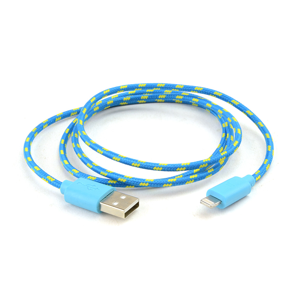 Turquoise/ Yellow 3 FT. USB to Lightning Charge & Sync Data Cable for Apple iPhone 5/5S/5C, iPod Touch 5/ iPad Mini