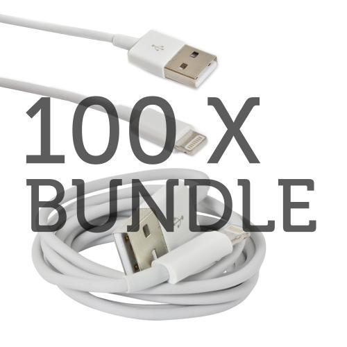 100 Pack Bundle White Charge n' Sync Lightning Cable for Apple iPhone 5/5S/ iPod Touch 5/ iPad 3/4 & iPad Mini