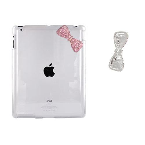 Apple New iPad (3rd Gen.) Clear Hard Case w/ Pink Bling Bow