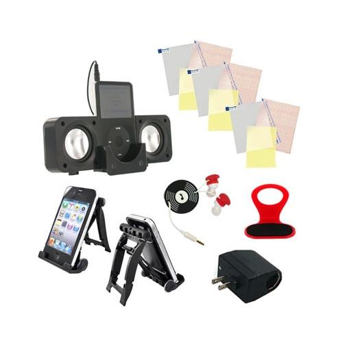 Dorm Life Essential Bundle Package w/ Headset, Phone Holder, Universal Screen Protectors, 3Feet Stand, Headset Cord Wrapper, & AC DC Converter