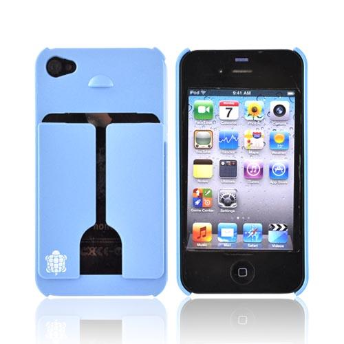 Original TRTL BOT Apple AT&T/ Verizon iPhone 4, iPhone 4S MINIMALIST Hard Case w/ ID Holder, DR2011BLU - Sky Blue