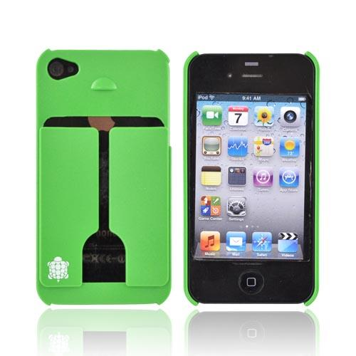 Original TRTL BOT Apple AT&T/ Verizon iPhone 4, iPhone 4S MINIMALIST Hard Case w/ ID Holder, DR2011GRN - Grass Green