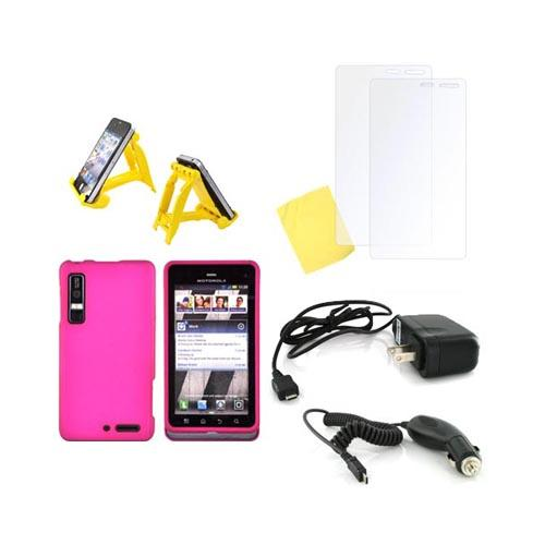 Motorola Droid 3 Essential Bundle Package w/ Rose Pink Rubberized Hard Case, 2 Pack Screen Protector, Yellow 3Feet Stand, Car & Travel Charger