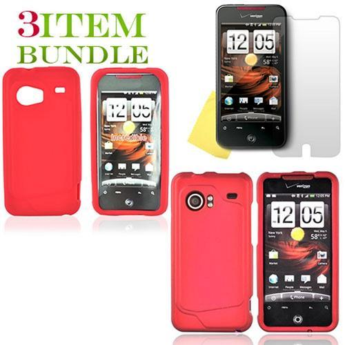 HTC Droid Incredible Bundle Package - Red Hard Case, Silicone Case & Screen Protector - (Essential Combo)