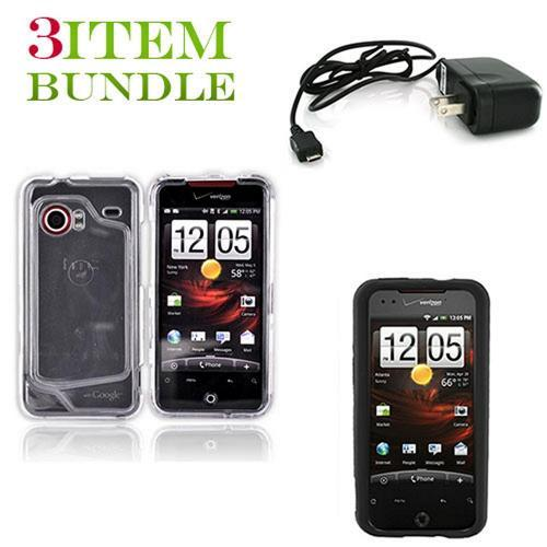 HTC Droid Incredible Bundle Package - Clear Hard Case, Silicone Case & Travel Charger - (Essential Combo)