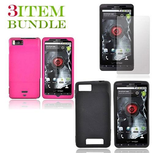 Motorola Droid X Bundle Package - Pink Hard Case, Silicone Case & Screen Protector - (Essential Combo)