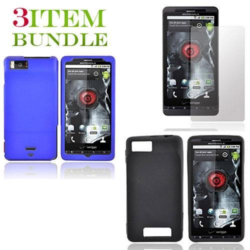 Motorola Droid X Bundle Package - Blue Hard Case, Silicone Case & Screen Protector - (Essential Combo)
