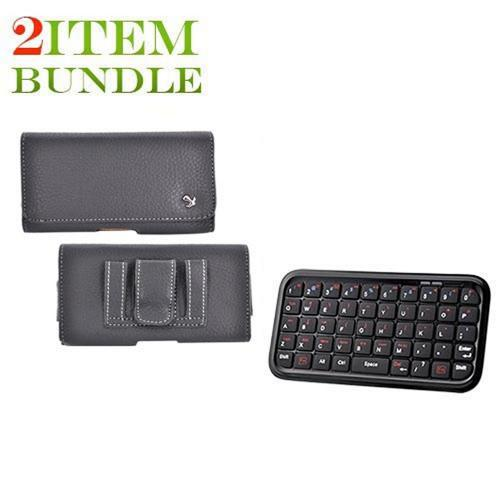 Motorola Droid X Bundle Package - Bluetooth Keyboard & Carrying Case & Universal Leather Horizontal Pouch - (Workaholic Combo)