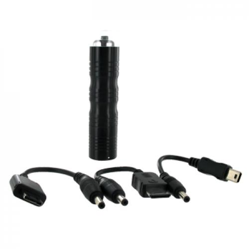 Cellet Emergency Charger w/ 3 Different Connectors and Led Flashlight - Black (M300, VX8500, Mini USB Types)