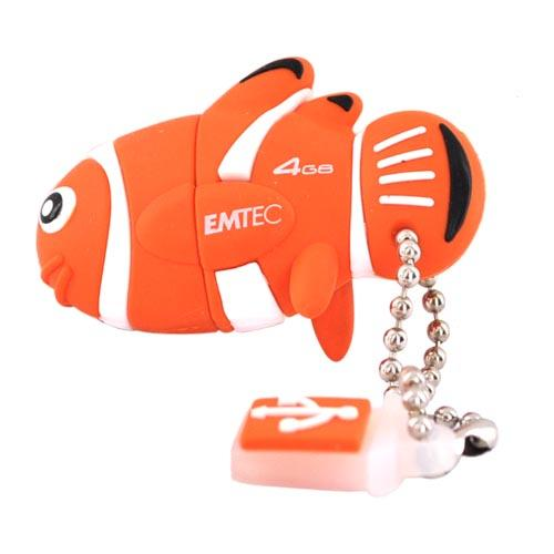 Original EMTEC 4GB Flash Drive, EKMMD4GM317 - Orange,White Clown Fish