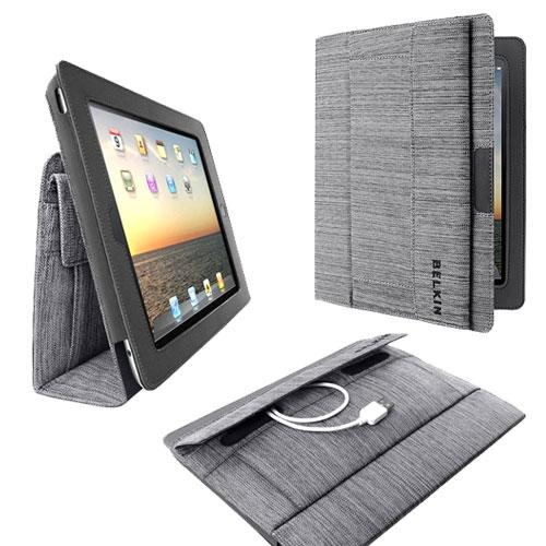 Original Belkin Apple iPad 2/ New iPad Case Stand w/ Exterior Pocket, F8N610TTC00 - Black/Gray Woven