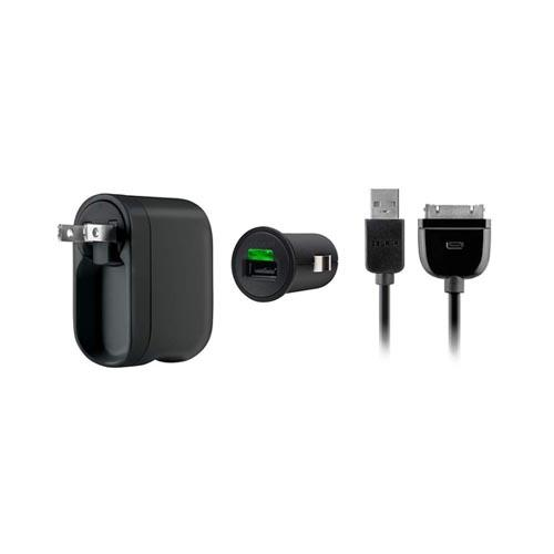 Original Belkin Apple iPhone/ iPod/ iPad Charger Kit w/ AC Wall Adapter, Car Charger, & Charge/ Sync Cable, F8Z752TT03 - Black