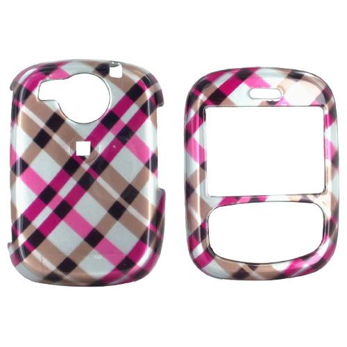 PCD Cricket TXTM8 Hard Case - Checkered Plaid of Hot Pink, Brown, and Silver