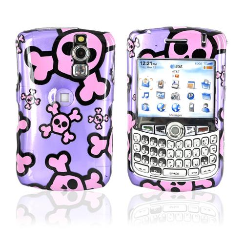 Blackberry Curve 8330, 8320, 8310, 8300 Hard Case - Pink Skulls on Purple