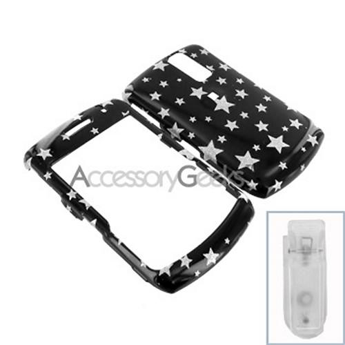Blackberry Curve 8330, 8320, 8310, 8300 Hard Case - Silver Stars on Black