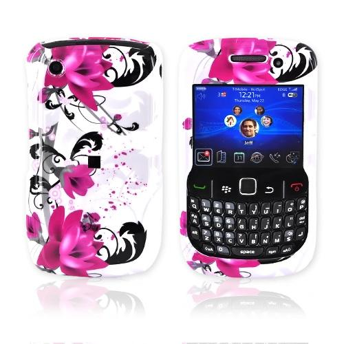 Blackberry Curve 3G 9330, 9300, 8520, 8530 Hard Case - Pink Flowers on White
